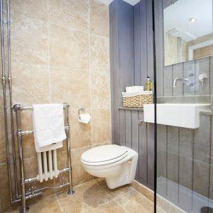 Bright, modern tiled bathroom